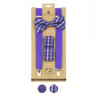 3pc Men's Purple Clip-on Suspenders, Bow Tie and Hanky Sets FYBTHSU-PU