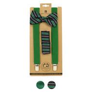 3pc Men's Green Clip-on Suspenders, Bow Tie and Hanky Sets FYBTHSU-GN (FYBTHSU-GN)