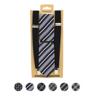 3pc Men's Black Clip-on Suspenders and Plaid Tie Sets