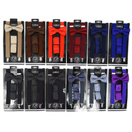 12pc Assorted Men's Solid Color Clip-on Suspenders, Bow Tie and Hanky Sets (SDBTHSU1/AST)