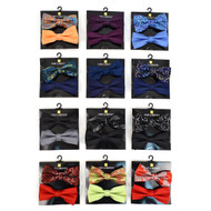 12pc Two Pack Assorted Men's Paisley & Solid Color Pattern Poly Woven Banded Bow Ties