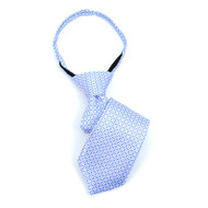 "Boy's 11"" Grid Sky Blue Zipper Tie"