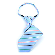 "Boy's 11"" Striped Baby Blue Zipper Tie"