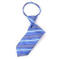 "Boy's 14"" Striped Blue Zipper Tie"