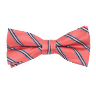 "Boy's 2""Peach Striped Polyester Woven Banded Bow Tie FBB27"
