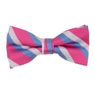 """Boy's 2"""" Fuschia & Blue Striped Polyester Woven Banded Bow Tie FBB28"""