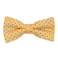 "Boy's 2"" Yellow Dotted Polyester Woven Banded Bow Tie FBB29"