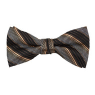 "Boy's 2"" Brown & Black Striped Polyester Woven Banded Bow Tie FBB31"