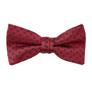 "Boy's 2"" Burgundy Dotted Polyester Woven Banded Bow Tie FBB32"