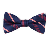 "Boy's 2"" Navy & Pink Striped Polyester Woven Banded Bow Tie FBB33"