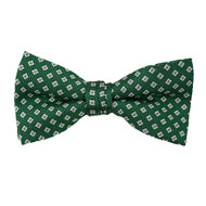 "Boy's 2"" Green Dotted Polyester Woven Banded Bow Tie FBB34"