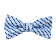 "Boy's 2"" Blue Checkered Polyester Woven Banded Bow Tie FBB37"