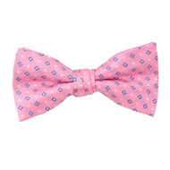 "Boy's 2"" Pink Dotted Polyester Woven Banded Bow Tie FBB38"
