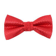 "Boy's 2"" Red Textured Polyester Woven Banded Bow Tie FBB39"