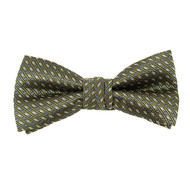 "Boy's 2"" Olive Dotted Polyester Woven Banded Bow Tie FBB40"