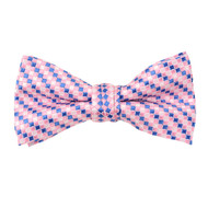 "Boy's 2"" Pink Checkered Polyester Woven Banded Bow Tie FBB41"