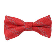 """Boy's 2"""" Red Striped Polyester Woven Banded Bow Tie FBB42"""