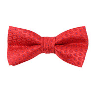"""Boy's 2"""" Red Dotted Polyester Woven Banded Bow Tie FBB44"""