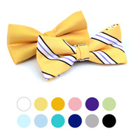2 in 1 Stripe & Solid Pattern Poly Woven Banded Bow Ties