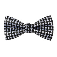 """Boy's 2"""" Black & White Checkered Polyester Woven Banded Bow Tie FBB45"""