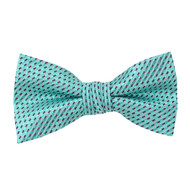 "Boy's 2"" Mint Dotted Polyester Woven Banded Bow Tie FBB46"