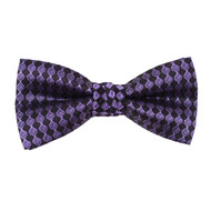 """Boy's 2"""" Purple & Black Checkered Polyester Woven Banded Bow Tie FBB47"""