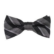 """Boy's 2"""" Gray & Black Striped Polyester Woven Banded Bow Tie FBB48"""