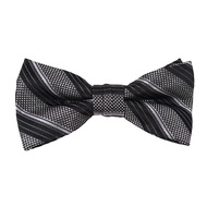 "Boy's 2"" Gray & Black Striped Polyester Woven Banded Bow Tie FBB48"