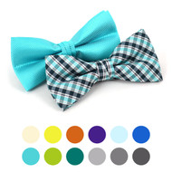 2 in 1 Plaid & Solid Pattern Poly Woven Banded Bow Ties