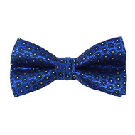 """Boy's 2"""" Royal Blue Dotted Polyester Woven Banded Bow Tie FBB50"""
