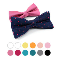 2 in 1 Dot & Solid Pattern Poly Woven Banded Bow Ties