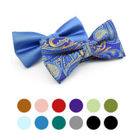 2 in 1 Paisley & Solid Pattern Poly Woven Banded Bow Ties