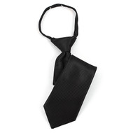 "Boy's 14"" Black Grid Zipper Tie MPWZ14-01"
