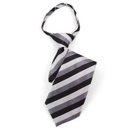 "Boy's 14"" Black & Silver Stripes Zipper Tie MPWZ14-04"