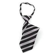"""Boy's 14"""" Black & Gray Stripes Zipper Tie MPWZ14-05"""