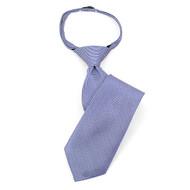 "Boy's 14"" Blue & White Dots Zipper Tie MPWZ14-09"