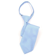 "Boy's 14"" Sky Blue & Navy Dots Zipper Tie MPWZ14-10"