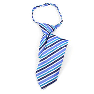 "Boy's 14"" Blue & Teal Stripes Zipper Tie MPWZ14-11"