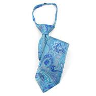 "Boy's 14"" Blue & Turquoise Paisley Zipper Tie MPWZ14-13"