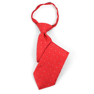 "Boy's 14"" Red & Gray Dots Zipper Tie MPWZ14-14"