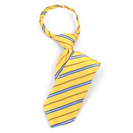 "Boy's 14"" Gold & Blue Stripes Zipper Tie MPWZ14-20"