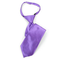 "Boy's 14"" Purple & Black Pin Stripes Zipper Tie MPWZ14-22"