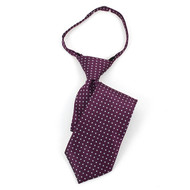 "Boy's 14"" Plum & Gray Dots Zipper Tie MPWZ14-23"