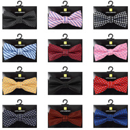 "12pc Random Assorted Boy's 2"" Dot Pattern Poly Woven Banded Bow Ties"
