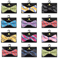 "12pc Random Assorted Boy's 2"" Striped Pattern Poly Woven Banded Bow Ties"
