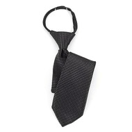 "Boy's 17"" Black & Gray Dotted Zipper Tie MPWZ17-01"