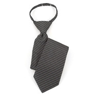 "Boy's 17"" Black/White & Gray Dotted Zipper Tie MPWZ17-02"