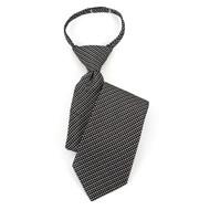 "Boy's 17"" Black/White & Gray Dotted Zipper Tie MPWZ17-02"