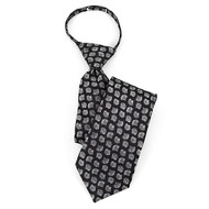 "Boy's 17"" Black & White Spotted Zipper Tie MPWZ17-06"