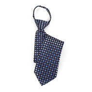 "Boy's 17"" Blue & Silver Checkered Zipper Tie MPWZ17-10"